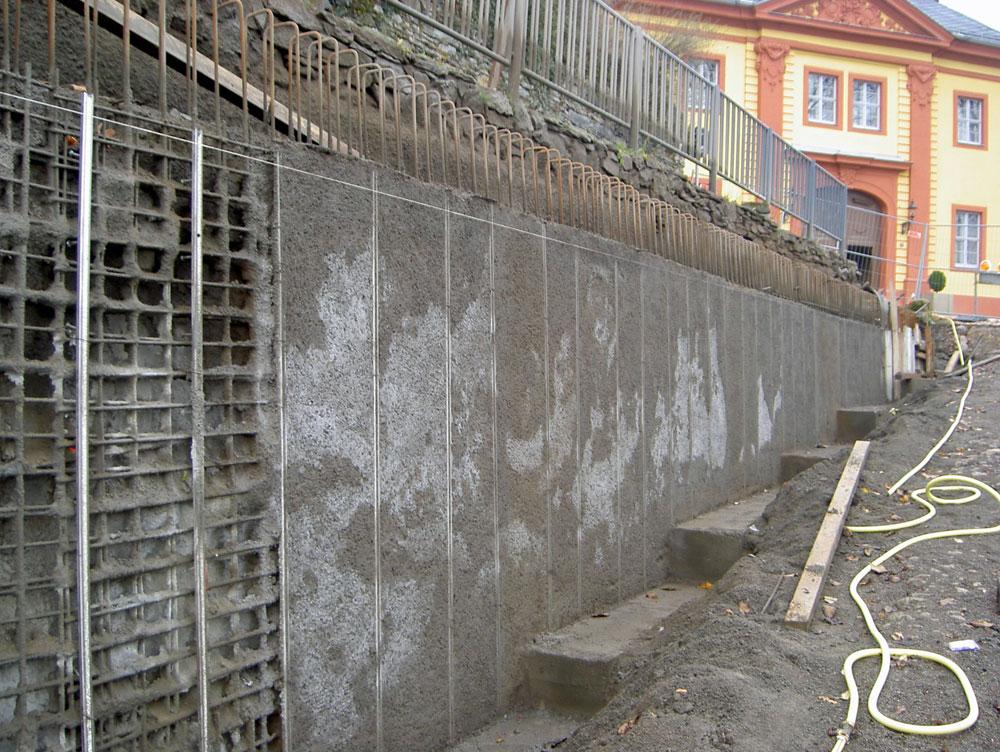 Sanierung Stützmauer Ost, Oberes Schloss Greiz