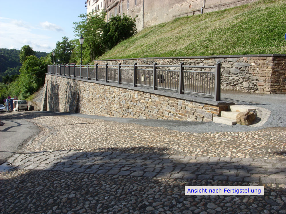 Stützwand Feuerwehrzufahrt, Oberes Schloss Greiz